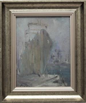 Marian Mokwa( 1889-1987) ,Statek w porcie
