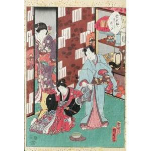 Utagawa KUNISADA II (1823-1880), Agemaki z cyklu: Murasaki Shikibu Genji karuta, 1857