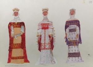 """Otto AXER (1906-1983), 48 szkiców projektowych do kostiumów z filmu: """"Kazimierz Wielki"""" w reżyserii Ewy i Czesława Petelskich, ok. 1974"""