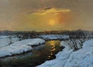 Wiktor KORECKI (1890-1980), Zachód słońca z rzeką
