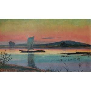 Henryk SZCZYGLIŃSKI (1881-1944), Zachód słońca nad jeziorem