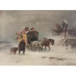 Adolf van der VENNE (1828-1911), Kuglarze w drodze w zimowy dzień, 1898