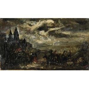 """Józef BRANDT (1841-1915), Szkic do obrazu""""Czarniecki pod Koldyngą"""
