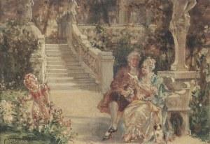 Paweł [Paul] MERWART (1855-1902), Scena rodzajowa w ogrodzie