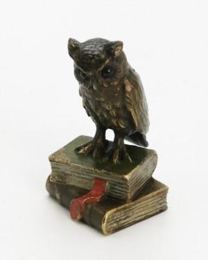 Franz Xaver BERGMANN (1861-1936); WIENER BRONZEFABRICATION, Sowa na książkach - przycisk na biurko