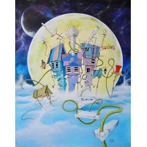 Dariusz Franciszek Różyc, Night of the Green Creeper, 2018r., akryl na płycie, 70x55cm, sygn.p.d