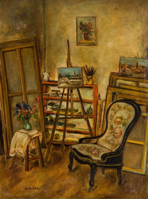 Isaac Antcher (1899 Perececina - 1992 Paryż ), Pracownia artysty, 1932 r.