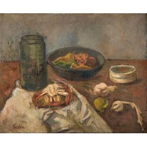 Adolphe Feder (1886 Odessa - 1943), Martwa natura ze słoikiem i półmiskiem owoców
