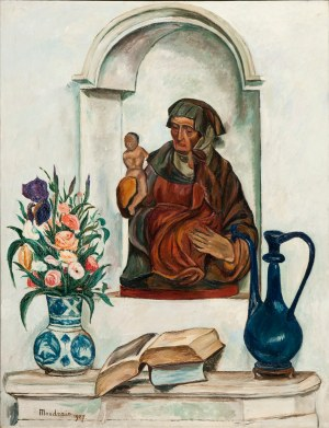 Szymon Mondzain (1890 Chełm - 1979 Paryż), Martwa natura z Madonną, 1927 r.