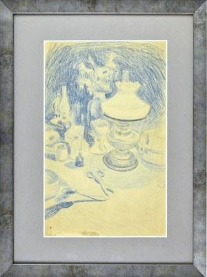 Stanisław Kamocki (1875-1944), Martwa natura z lampą naftową, nożyczkami i naczyniami stołowymi, ok. 1895