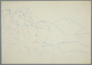 Janina Muszanka - Łakomska (1920-1982), Śpiący mężczyzna leżący w pościeli, ok. 1970