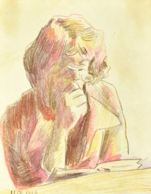 Stanisław Kamocki (1875-1944), Kobieta czytająca książkę, 11 IV 1943