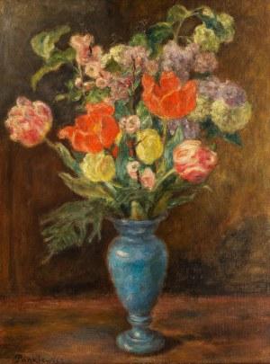 Józef Pankiewicz (1866 - 1940), Bukiet kwiatów w niebieskim wazonieWilk, lata 80. XIX w.