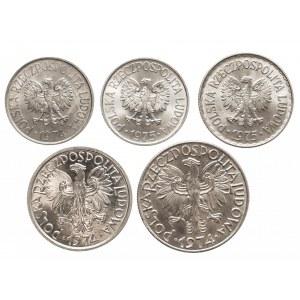 Polska, PRL 1944-1989, zestaw menniczych monet aluminiowych (1)