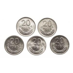 Polska, PRL 1944-1989, zestaw monet 20-sto groszowych w menniczym stanie