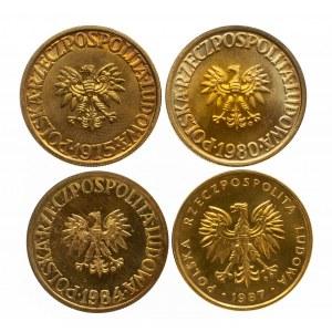 Polska, PRL 1944-1989, zestaw monet 5-cio złotowych z mosiądzu