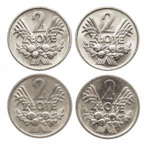 Polska, PRL 1944-1989, ciekawy zestaw monet 2 złotowych 1959-1974
