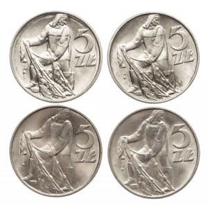 Polska, PRL 1944-1989, 5 złotych 1974 Rybak zestaw 4 monet
