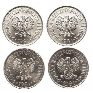 Polska, PRL 1944-1989, 1 złoty 1981, zestaw 4 monet