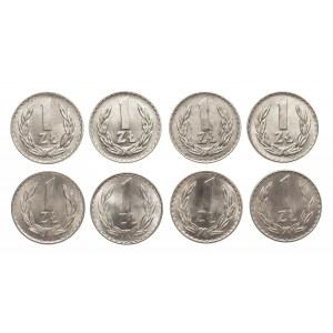 Polska, PRL 1944-1989, 1 złoty, zestaw roczników 1971-1978
