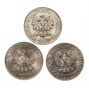 Polska, PRL 1944-1989, 10 złotych Kościuszko, zestaw trzech roczników