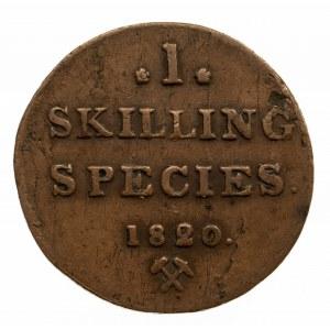 Norwegia, 1 skilling species 1820, Kongsberg