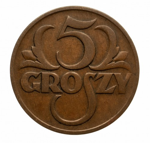 Polska, II Rzeczpospolita 1918-1939, 5 groszy 1928, Warszawa.