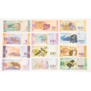 Wenezuela, zestaw banknotów od 2 do 10000 boliwarów (12 szt.)