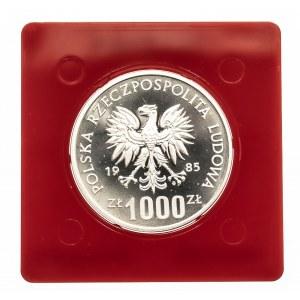 Polska, PRL 1944-1989, 1000 złotych 1985 40 lat ONZ, próba