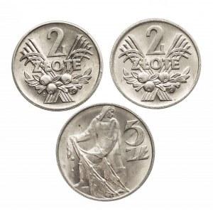 Polska, PRL 1944-1989, zestaw 3 monet aluminiowych