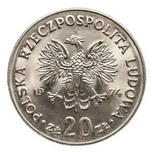 Polska, PRL 1944-1989, 20 złotych 1974 Nowotko, mały orzeł