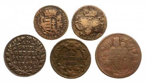 Austria, Maria Teresa, zestaw 5 monet miedzianych