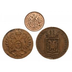 Austria, zestaw 3 monet miedzianych