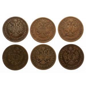 Austria, zestaw 6 monet 4. krajcarowych 1860-1861