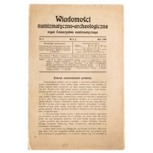 Wiadomości Numizmatyczno-Archeologiczne zeszyt maj 1909, Kraków