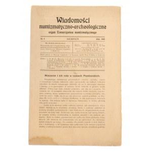 Wiadomości Numizmatyczno-Archeologiczne zeszyt sierpień 1909, Kraków