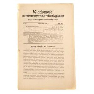 Wiadomości Numizmatyczno-Archeologiczne zeszyt październik 1909, Kraków