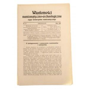 Wiadomości Numizmatyczno-Archeologiczne zeszyt grudzień 1909, Kraków