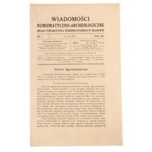 Wiadomości Numizmatyczno-Archeologiczne zeszyt lipiec 1918, Kraków