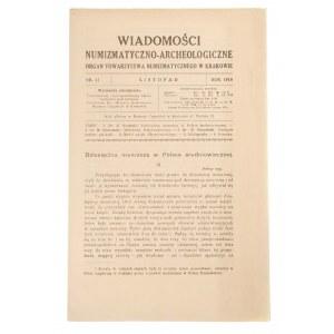 Wiadomości Numizmatyczno-Archeologiczne zeszyt listopad 1918, Kraków