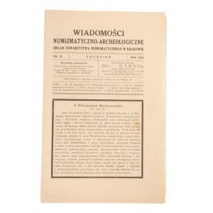 Wiadomości Numizmatyczno-Archeologiczne zeszyt grudzień 1918, Kraków