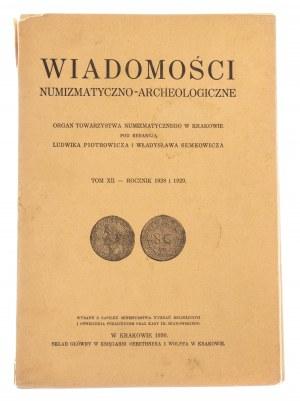 Wiadomości Numizmatyczno-Archeologiczne tom XII - rocznik 1928 i 1929, Kraków