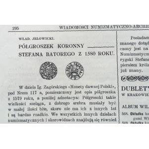 WIADOMOŚCI NUMIZMATYCZNO ARCHEOLOGICZNE Nr 62/1905 Kraków.