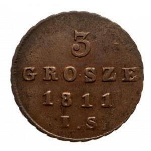Księstwo Warszawskie 1807-1815, 3 grosze 1811 I.S., Warszawa
