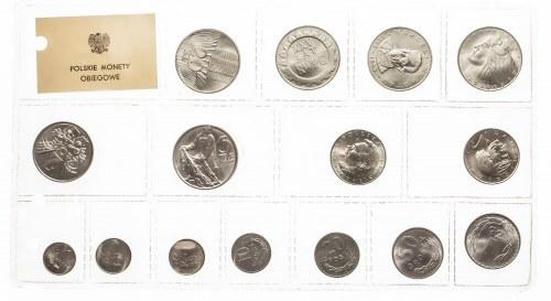 Polska, PRL 1944-1989, Polskie Monety obiegowe: - oficjalny zestaw 15 monet