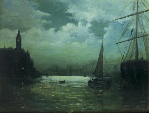 Douzette Louis, PORT NOCĄ W ŚWIETLE KSIĘŻYCA, 1894