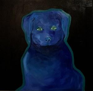 Irma Tylor, Blue dog on black background
