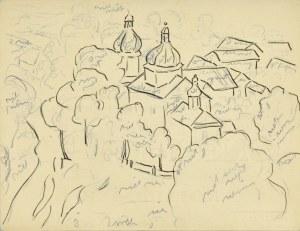 Emil KRCHA (1894-1972), Pejzaż miejski z wieżami kościoła