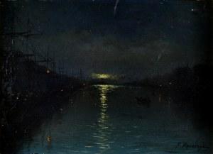 Ferdynand RUSZCZYC (1870-1936), Nokturn- Nocny widok portu, 1893