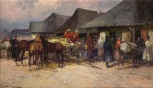 Adam SETKOWICZ (1875-1945), Spotkanie przed karczmą, ok. 1918